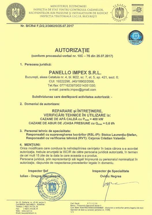 Autorizatie ISCIR